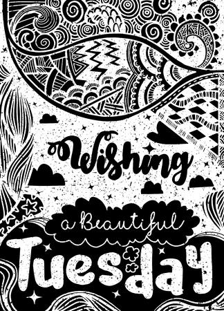 週日動機の引用。Tuesday.Vector エスニック パターンは、パターンの塗りつぶし、子供と大人のための本やページを着色、壁紙用使用できます。