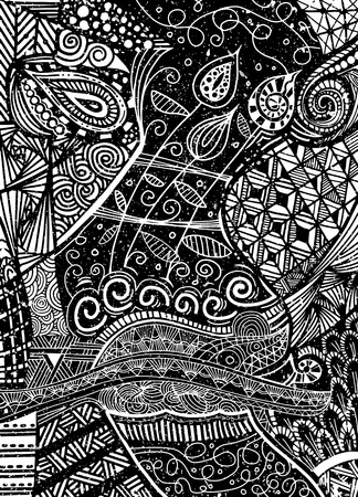 Vector pattern with zentangle background Ilustração