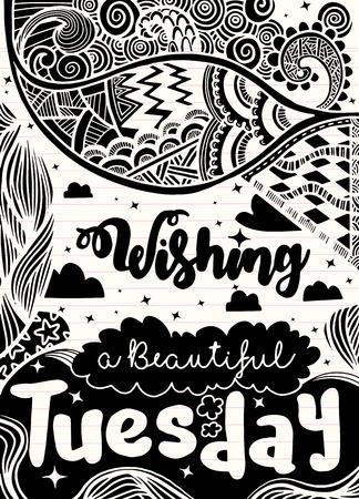 週日動機の引用。Tuesday.Vector エスニック パターンは、パターンの塗りつぶし、子供と大人のための本やページを着色、壁紙用使用できます。 写真素材 - 81418088