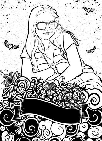 Portrait of young beautiful girl  with Flower Doodle , crossed her arms . Vector hand drawn illustration.