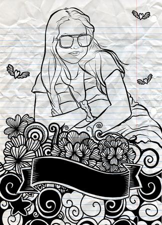 Portrait de jeune fille magnifique avec Flower Doodle, a croisé les bras. Illustration dessiné à la main à vecteur. Banque d'images - 81435362