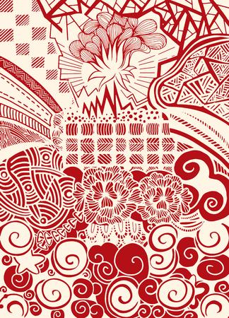 Vector pattern with zentangle background Ilustração