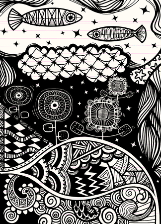 Vector pattern with zentangle background Banco de Imagens - 81721753