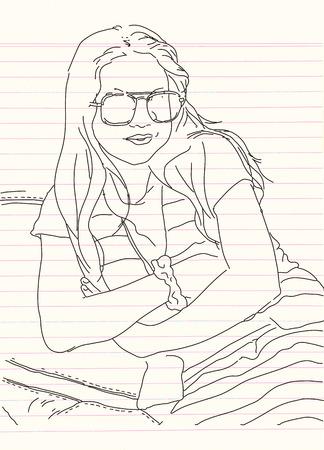 젊은 아름 다운 여자의 초상화 그녀의 팔을 넘어. 벡터 손으로 그려진 된 그림입니다.