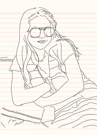 Portrait of young beautiful girl crossed her arms . Vector hand drawn illustration. Ilustração
