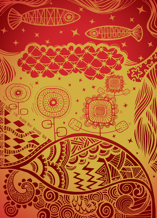 Vector pattern with zentangle background Imagens - 81721823