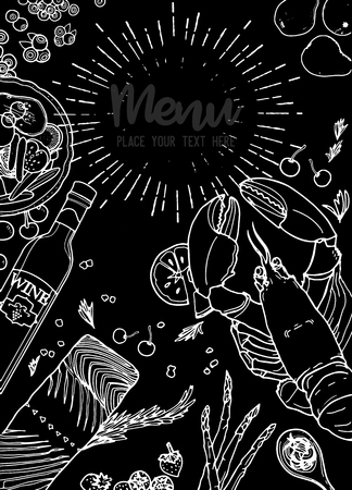 Food background. Linear graphic. food collection. Engraved top view illustration. Vector illustration