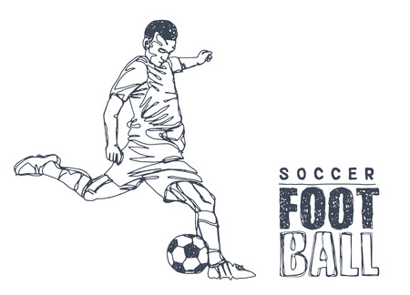 Continuous Line Drawing or One Line Drawing of two Soccer Players scrambling for ball. vector illustration.