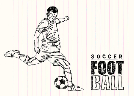 scrambling: Continuous Line Drawing or One Line Drawing of two Soccer Players scrambling for ball. vector illustration.