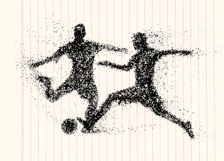 scrambling: Football, silhouette of a two Soccer Players scrambling for ball  from particle, Silhouette of a Football from particles. vector illustration.