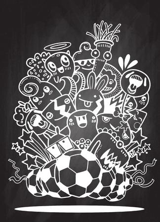 Hipster Hand getrokken Crazy doodle Monster groep, vectorillustratie van grappige mensen, voetbal, voetbalwedstrijd Stock Illustratie