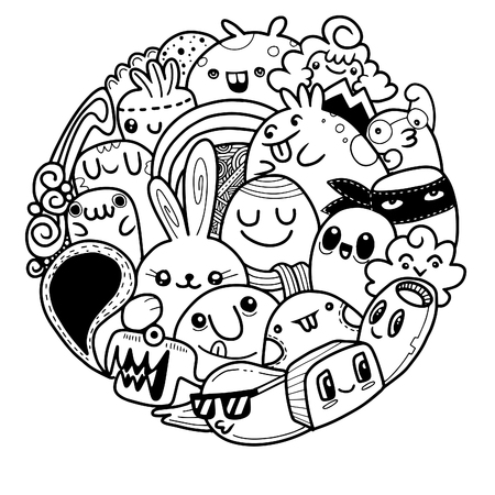 Vector illustration of Doodle cute Monster background , Cute Monster Set in circle Çizim