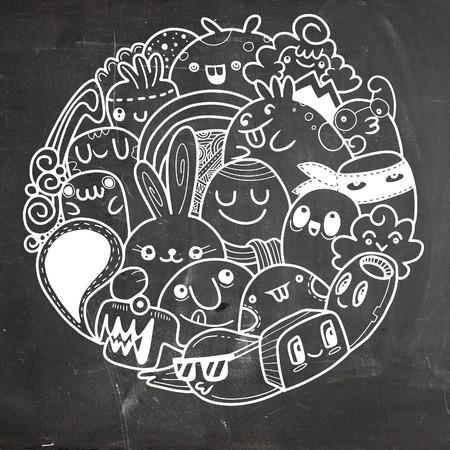 落書きかわいいモンスターの背景は、かわいいモンスターは、サークル内の設定のベクトル イラスト