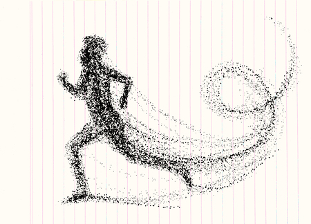 Running man consisting of lots of dots. vector illustration.