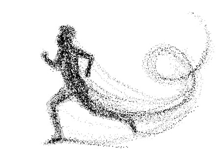 Running man consisting of lots of dots. vector illustration.