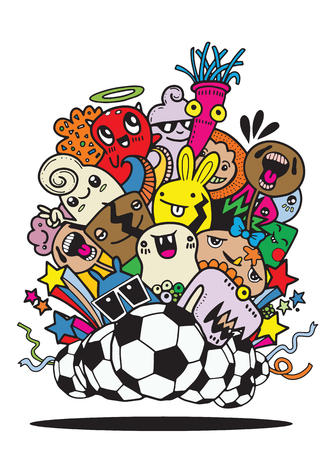Hipster Hand drawn Crazy doodle Monster group,Vector Illustration of Funny people,Football, soccer match 일러스트