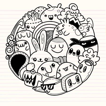 Vector illustratie van Doodle schattig Monster achtergrond, Leuk Monster Set in cirkel Stock Illustratie