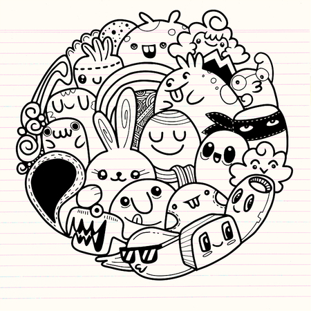 Vector illustration of Doodle cute Monster background , Cute Monster Set in circle Иллюстрация