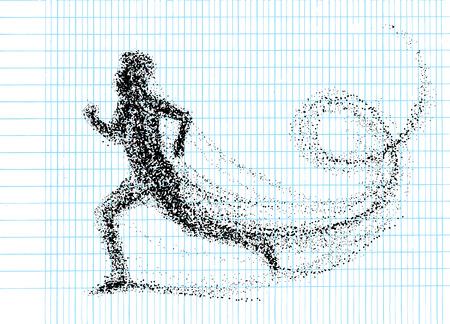 Running man consisting of lots of dots. vector illustration. 版權商用圖片 - 81879359
