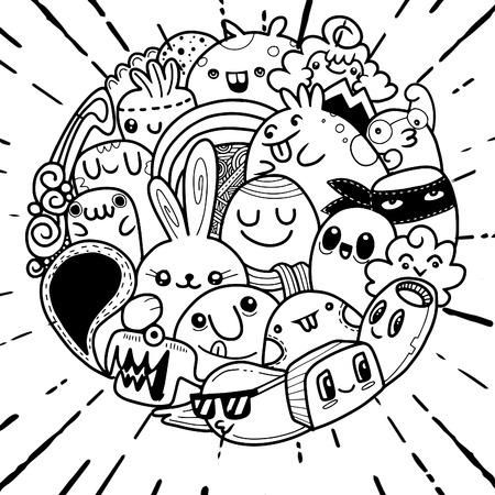 Vector illustration of Doodle cute Monster background , Cute Monster Set in circle Ilustração
