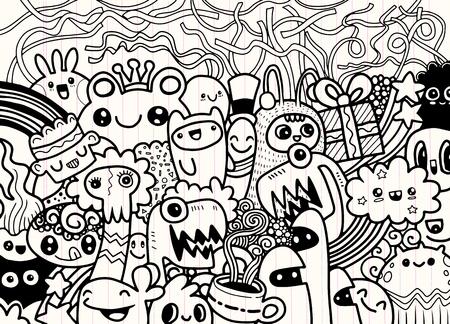 Hipster Hand drawn fou groupe doodle Monster, dessin style.Vector illustration Banque d'images - 81879365