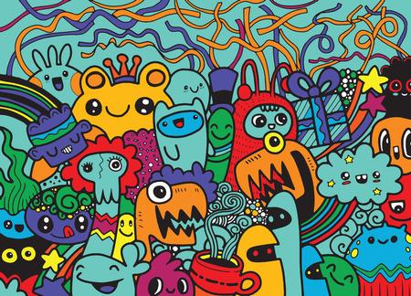 Groupe de monstre Crazy doodle dessinés à la main Hipster, style de dessin. Illustration vectorielle Banque d'images - 81879366