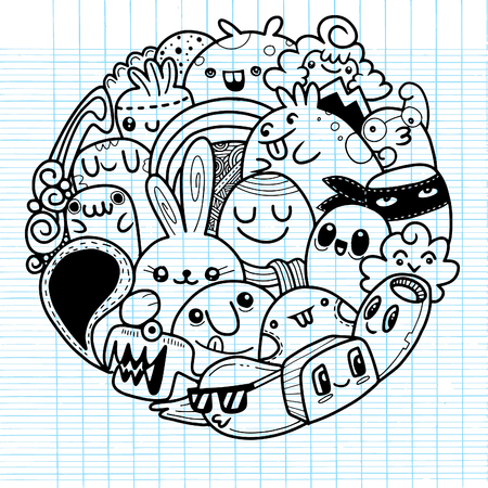 Vector illustration of Doodle cute Monster background , Cute Monster Set in circle Illustration