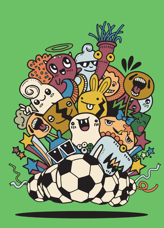 Hipster Hand drawn Crazy doodle Monster group,Vector Illustration of Funny people,Football, soccer match Ilustracja