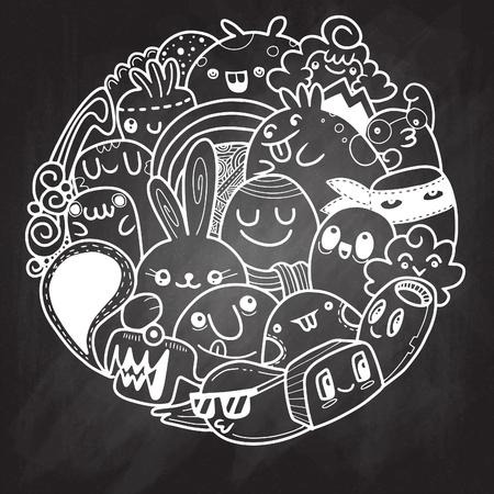 mutant: Vector illustration of Doodle cute Monster background , Cute Monster Set in circle Illustration