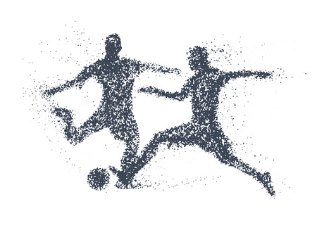 Football, silhouette of a two Soccer Players scrambling for ball  from particle, Silhouette of a Football from particles. vector illustration.