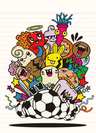 Hipster Hand drawn Crazy doodle Monster group,Vector Illustration of Funny people,Football, soccer match Ilustrace