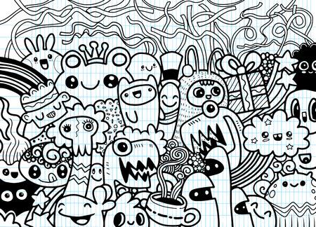 Hipster Hand drawn fou groupe doodle Monster, dessin style.Vector illustration Banque d'images - 81880103