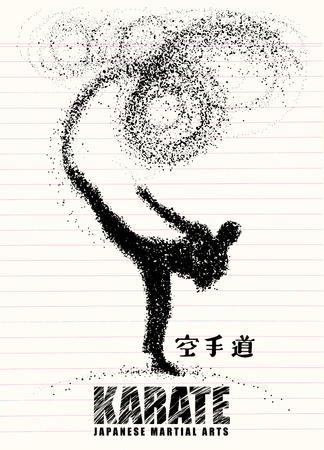 空手家の立っている側の蹴りのシルエット。ベクター グラフィックスは、粒子で構成されます。ベクトル図 写真素材 - 81928020