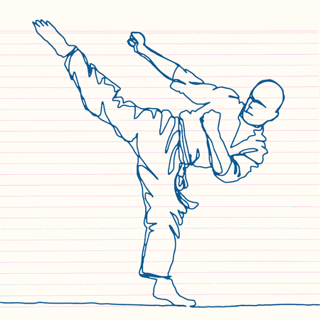 continuous line drawing of karate athlete,Vector hand drawn illustration. Ilustração