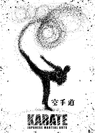 Silhouette of a karateka doing standing side kick .Vector graphics composed of particles.Vector illustration