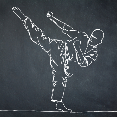 continuous line drawing of karate athlete,Vector hand drawn illustration.