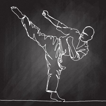 continuous line drawing of karate athlete,Vector hand drawn illustration. Illustration