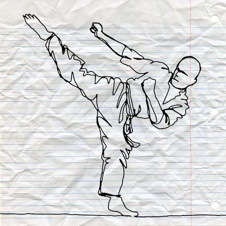 가라테 선수, 벡터 손으로 그린 그림의 연속 선 그리기. 일러스트