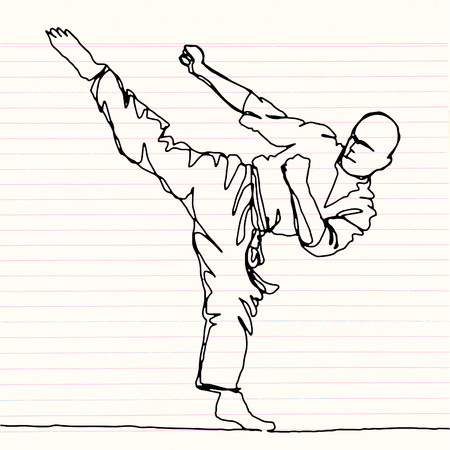 doorlopende lijn tekening van karate atleet, vector hand getekende illustratie. Stock Illustratie
