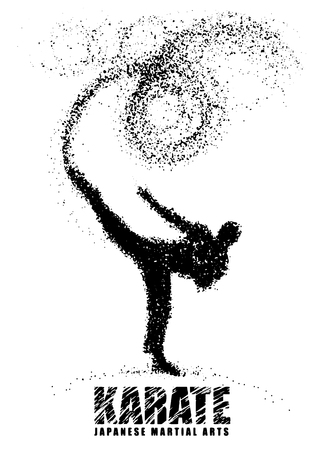 Silhouet van een karateka die bevindende zijschop doen. Vectordiegrafiek uit deeltjes wordt samengesteld. Vectorillustratie