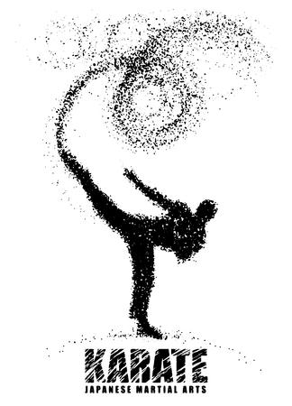Silhouet van een karateka staande zijsschop. Vector graphics samengesteld uit deeltjes. Vector illustratie