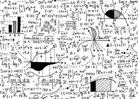 Modèle de vecteur de l'éducation de mathématiques avec des formules manuscrites, des tâches, des parcelles, des calculs et des figures géométriques.seamless vecteur de doodle de fond.