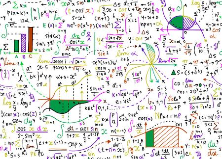 タスク、手書きの数式と数学教育ベクトル パターンをプロット、計算と幾何学的な figures.seamless 背景落書きベクトル。