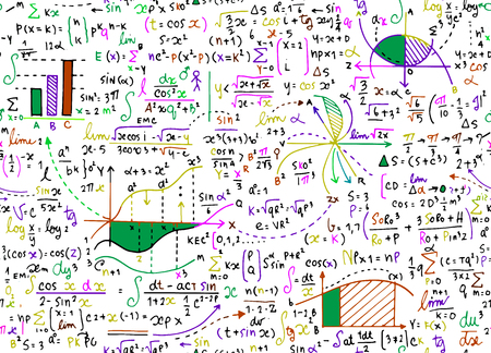Math education vector pattern with handwritten formulas, tasks, plots, calculations and geometrical figures.seamless background doodle vector. Ilustracja