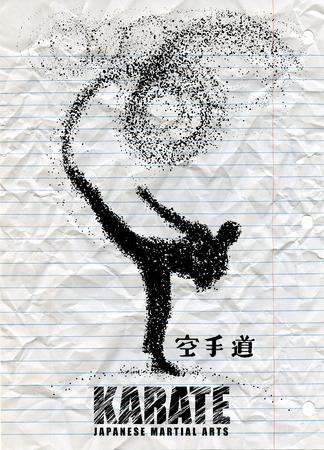 空手家の立っている側の蹴りのシルエット。ベクター グラフィックスは、粒子で構成されます。ベクトル図 写真素材 - 81952785