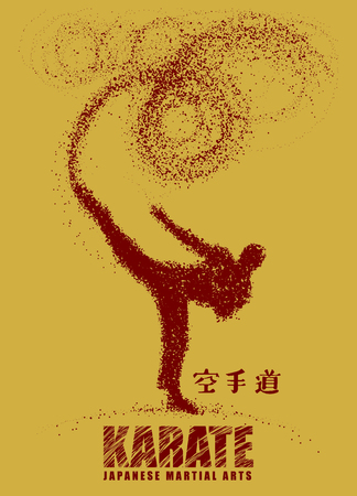 Silhouette of a karateka doing standing side kick .Vector graphics composed of particles.Vector illustration Stok Fotoğraf - 81952784