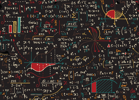 Math education vector pattern with handwritten formulas, tasks, plots, calculations and geometrical figures.seamless background doodle vector. Vectores