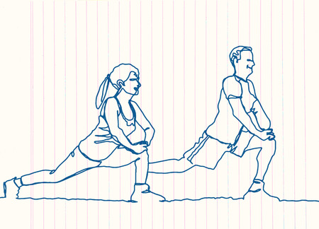 continuous line drawing of happy man and woman stretching,Vector hand drawn illustration.