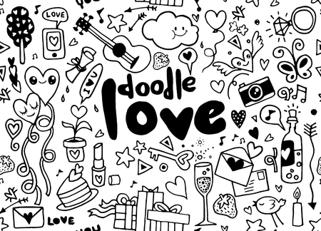 Love hand lettering and doodles elements sketch background. seamless background doodle vector. Иллюстрация