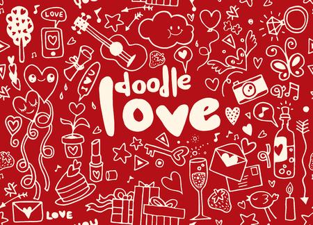 Amore mano lettering e doodles elementi di schizzo di sfondo . Doodle senza soluzione di continuità .Vector